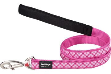 Red Dingo Fixed Length Lead Gingham Hot Pink L4-GI-HP