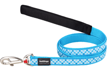 Red Dingo Fixed Length Lead Gingham Turquoise L4-GI-TQ