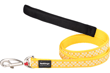 Red Dingo Fixed Length Lead Gingham Yellow L4-GI-YE