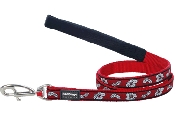 Red Dingo Fixed Length Lead Hibiscus Red L4-HI-RE