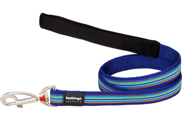 Red Dingo Fixed Length Lead Horizontal Stripes Dark Blue L4-HO-DB