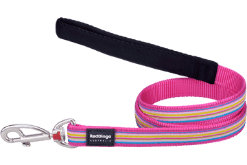 Red Dingo Fixed Length Lead Horizontal Stripes Hot Pink L4-HO-HP