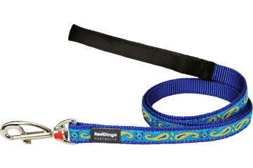Red Dingo Fixed Length Lead Paisley Dark Blue With Green L4-P2-DB