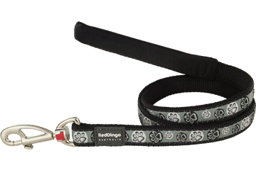 Red Dingo Fixed Length Lead Paw Impressions Black L4-PI-BB