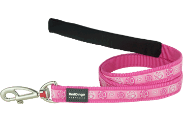 Red Dingo Fixed Length Lead Paw Impressions Hot Pink L4-PI-HP