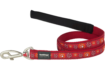 Red Dingo Fixed Length Lead Paw Impressions Red L4-PI-RE
