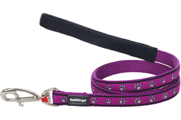 Red Dingo Fixed Length Lead Paw Prints Purple L4-PP-PU