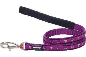 Red Dingo Fixed Length Lead Paw Prints Purple L4-PP-PU