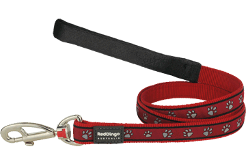 Red Dingo Fixed Length Lead Paw Prints Red L4-PP-RE