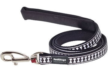 Red Dingo Fixed Length Lead Reflective Bones Schwarz L4-RB-BB