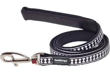 Red Dingo Leine mit fixer Länge Reflektierende Knochen Schwarz L4-RB-BB