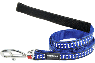 Red Dingo Fixed Length Lead Reflective Bones Dark Blue L4-RB-DB