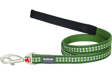 Red Dingo Fixed Length Lead Reflective Bones Green L4-RB-GR