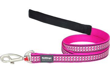 Red Dingo Fixed Length Lead Reflective Bones Hot Pink L4-RB-HP