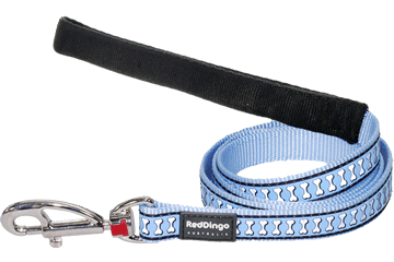 Red Dingo Fixed Length Lead Reflective Bones Light Blue L4-RB-LB