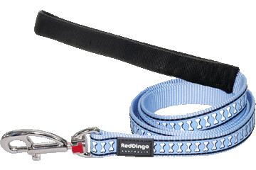 Red Dingo Leine mit fixer Länge Reflektierende Knochen Hellblau L4-RB-LB