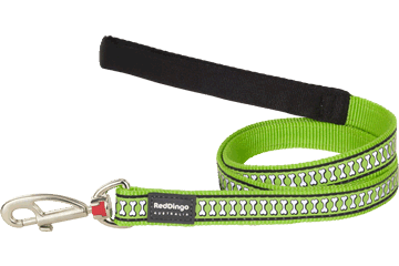 Red Dingo Fixed Lead Reflective Bones Lime Green L4-RB-LG