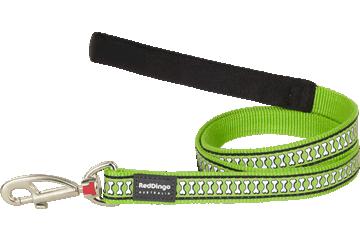 Red Dingo Leine mit fixer Länge Reflektierende Knochen Lime Grün L4-RB-LG