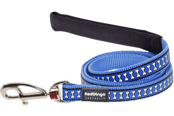 Red Dingo Fixed Length Lead Reflective Bones Medium Blue L4-RB-MB
