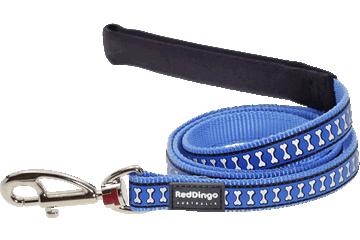 Red Dingo Leine mit fixer Länge Reflektierende Knochen Mittelblau L4-RB-MB