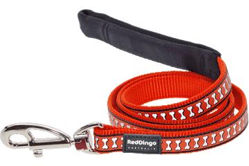 Red Dingo Fixed Length Lead Reflective Bones Orange L4-RB-OR