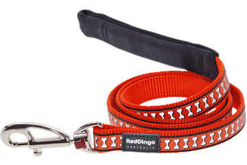 Red Dingo Fixed Length Lead Reflective Bones Orange L4-RB-OR