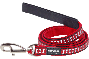 Red Dingo Fixed Lead Reflective Bones Red L4-RB-RE
