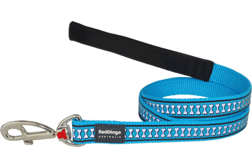 Red Dingo Fixed Length Lead Reflective Bones Turquoise L4-RB-TQ