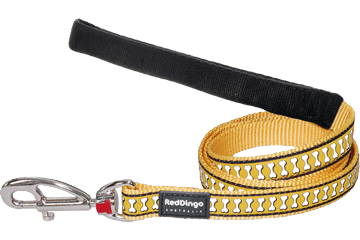 Red Dingo Fixed Length Lead Reflective Bones Yellow L4-RB-YE