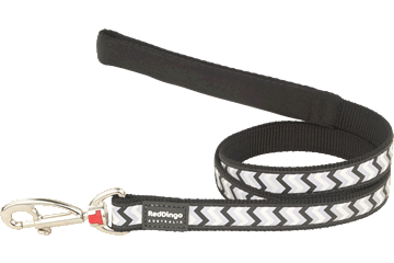 Red Dingo Fixed Length Lead Reflective Ziggy Black L4-RZ-BB