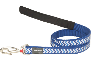 Red Dingo Fixed Length Lead Reflective Ziggy donkerblauw L4-RZ-DB