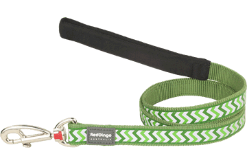 Red Dingo Fixed Length Lead Reflective Ziggy Green L4-RZ-GR