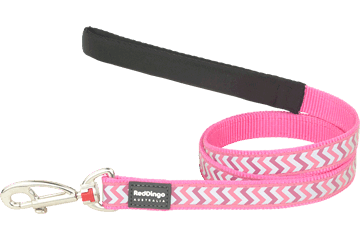Red Dingo Fixed Length Lead Reflective Ziggy Hot Pink L4-RZ-HP