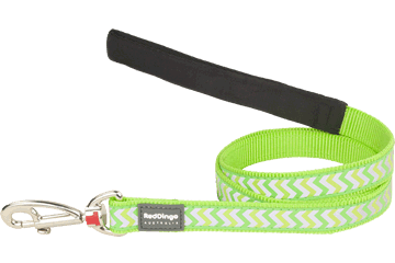 Red Dingo Fixed Length Lead Reflective Ziggy Lime Green L4-RZ-LG