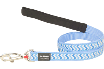 Red Dingo Fixed Length Lead Reflective Ziggy medium blauw L4-RZ-MB