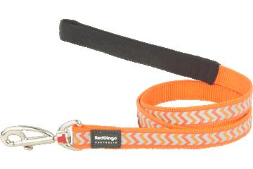 Red Dingo Fixed Length Lead Reflective Ziggy Orange L4-RZ-OR