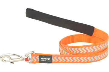 Red Dingo Fixed Length Lead Reflective Ziggy Orange L4-RZ-OR