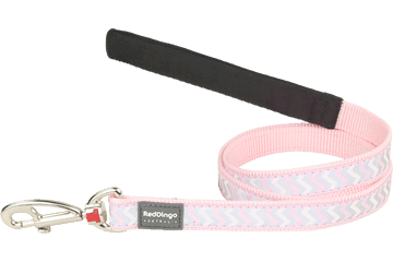 Red Dingo Fixed Length Lead Reflective Ziggy roze L4-RZ-PK