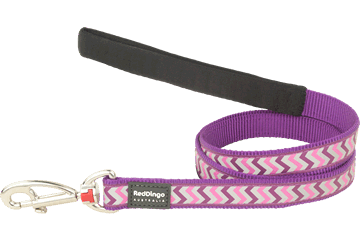 Red Dingo Fixed Length Lead Reflective Ziggy Purple L4-RZ-PU