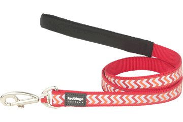 Red Dingo Fixed Length Lead Reflective Ziggy rood L4-RZ-RE