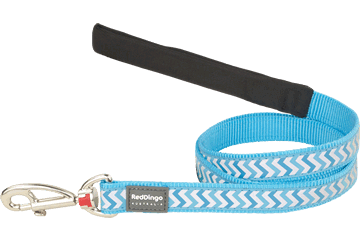 Red Dingo Fixed Length Lead Reflective Ziggy Turquoise L4-RZ-TQ