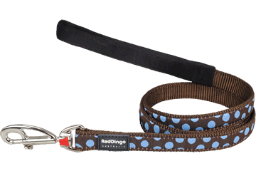 Red Dingo Fixed Length Lead Blue Spots Brown L4-S2-BR