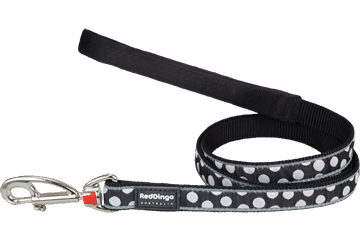 Red Dingo Fixed Length Lead White Spots Black L4-S5-BB