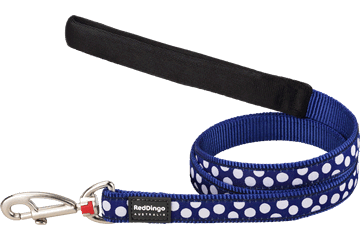 Red Dingo Fixed Length Lead White Spots Dark Blue L4-S5-DB