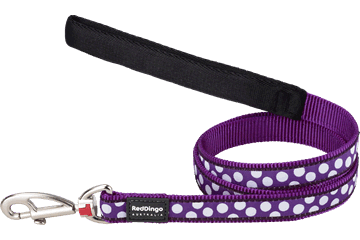 Red Dingo Fixed Length Lead White Spots Purple L4-S5-PU
