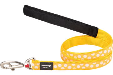 Red Dingo Fixed Length Lead White Spots Yellow L4-S5-YE