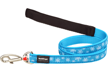 Red Dingo Fixed Length Lead Snow Flake Turquoise L4-SF-TQ