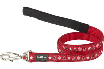 Red Dingo Fixed Length Lead Santa Paws Red L4-SP-RE