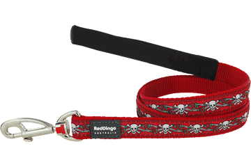 Red Dingo Fixed Length Lead Skull & Roses Red L4-SR-RE