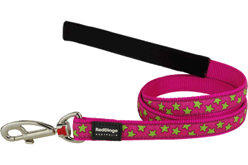 Red Dingo Fixed Length Lead Stars Hot Pink L4-ST-HP
